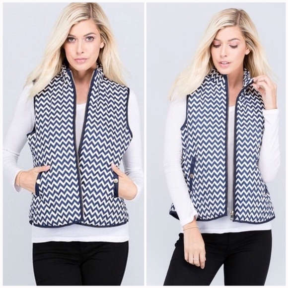 Jackets & Blazers - Blue Ivory Zip Up Puffer Vest with Pockets